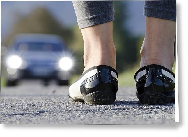 Leg Lamp Greeting Cards - Shoes and car Greeting Card by Mats Silvan