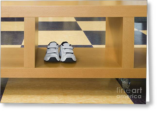 Shoes in a Shelving Unit Greeting Card by Andersen Ross
