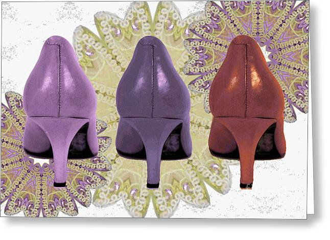 Shades Of Red Greeting Cards - Shoes in muted shades Greeting Card by Maralaina Holliday