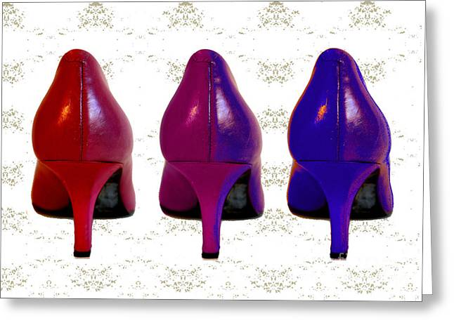 Shades Of Red Greeting Cards - Shoes in Red to Blue Greeting Card by Maralaina Holliday