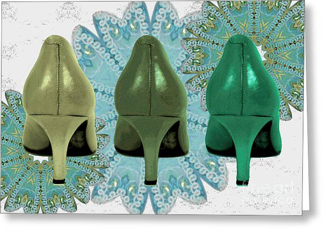 Shades Of Red Greeting Cards - Shoes in shades of Green Greeting Card by Maralaina Holliday