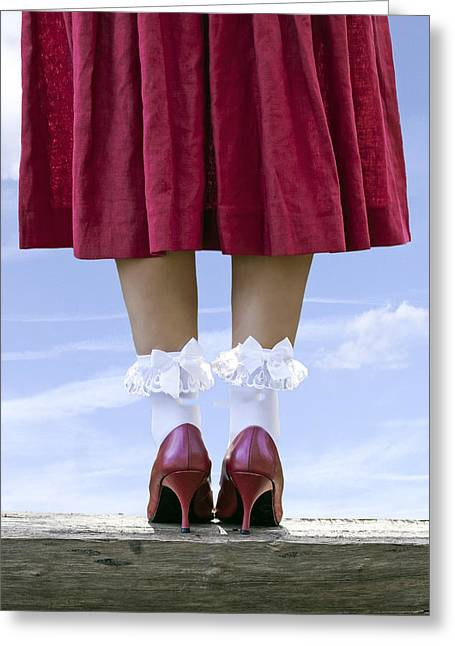 Red Skirt Greeting Cards - Shoes On Wooden Board Greeting Card by Joana Kruse