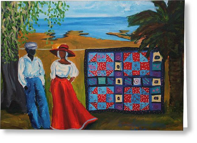 Slavery Paintings Greeting Cards - Shoofly Quilt Greeting Card by Diane Britton Dunham