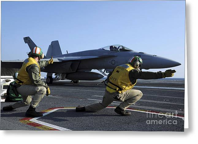 F-18 Greeting Cards - Shooters Aboard The Uss George H.w Greeting Card by Stocktrek Images