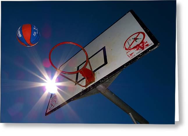 Shooting Hoops Greeting Cards - Shootin Hoops Greeting Card by Tim Nichols