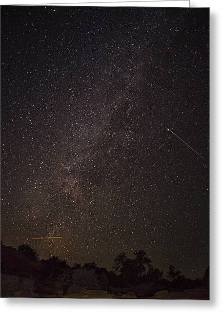 Utah Sky Greeting Cards - Shooting Stars in the Milky Way Greeting Card by Andrew Soundarajan