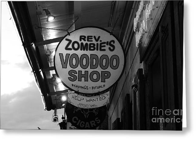 Voodoo Shop Greeting Cards - Shop Signs French Quarter New Orleans Black and White Greeting Card by Shawn O