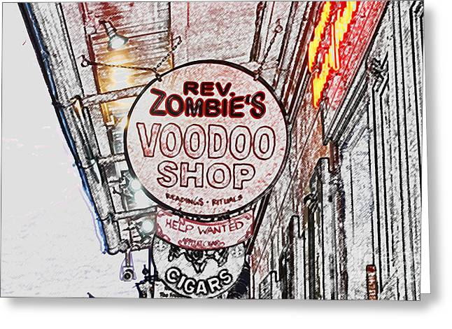 Voodoo Shop Greeting Cards - Shop Signs French Quarter New Orleans Colored Pencil Digital Art Greeting Card by Shawn O