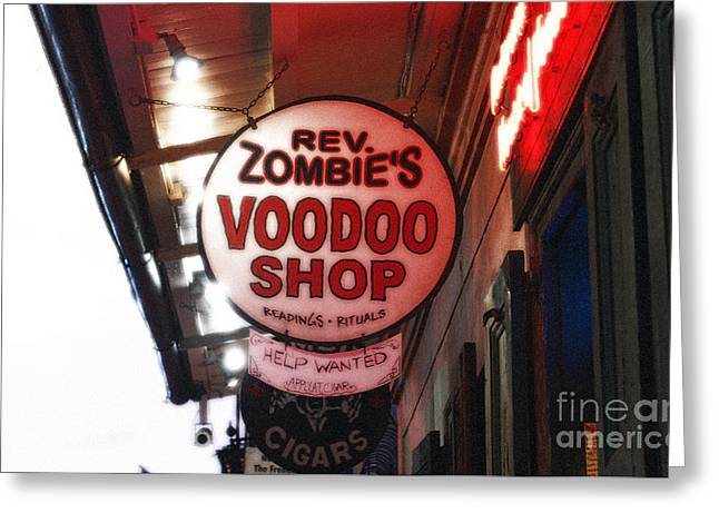 Voodoo Shop Greeting Cards - Shop Signs French Quarter New Orleans Diffuse Glow Digital Art Greeting Card by Shawn O