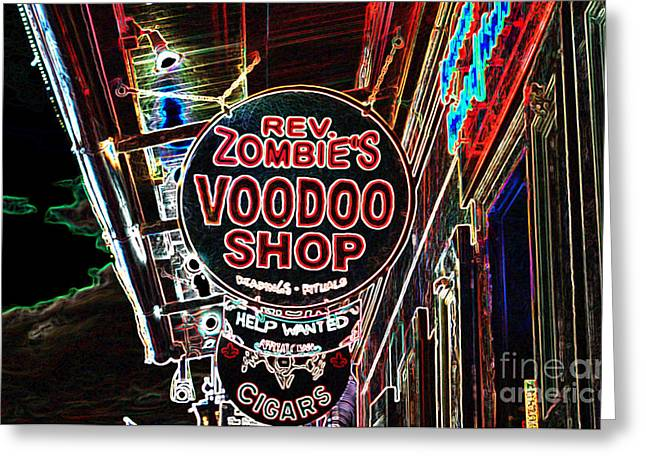 Voodoo Shop Greeting Cards - Shop Signs French Quarter New Orleans Glowing Edges Digital Art Greeting Card by Shawn O