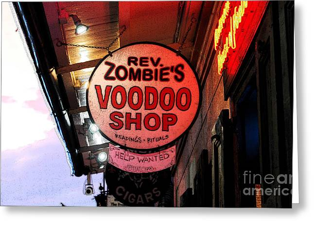 Voodoo Shop Greeting Cards - Shop Signs French Quarter New Orleans Ink Outlines Digital Art Greeting Card by Shawn O