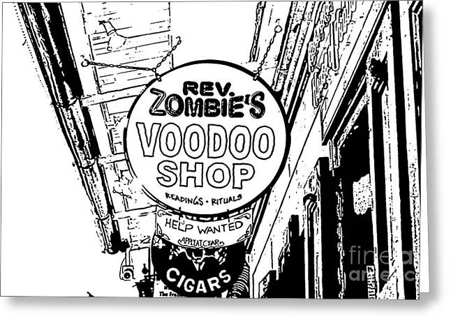 Voodoo Shop Greeting Cards - Shop Signs French Quarter New Orleans Stamp Digital Art Greeting Card by Shawn O