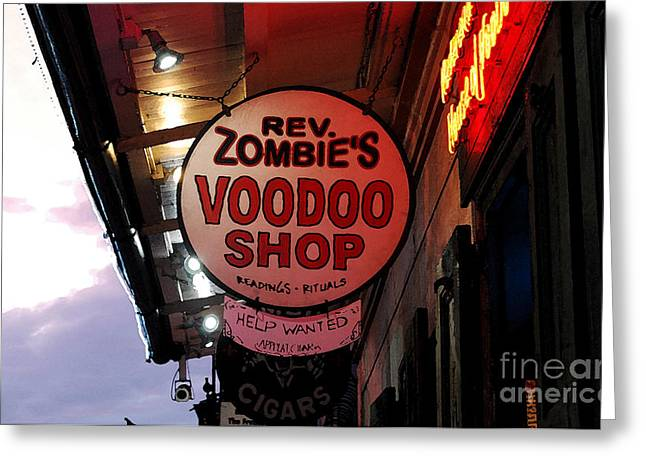 Voodoo Shop Greeting Cards - Shop Signs French Quarter New Orleans Watercolor Digital Art Greeting Card by Shawn O