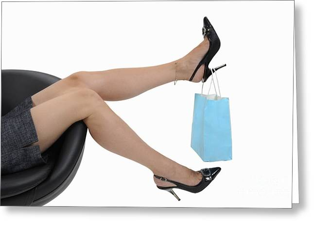 Satisfaction Greeting Cards - Shopping bag hanging on womans high heels Greeting Card by Sami Sarkis