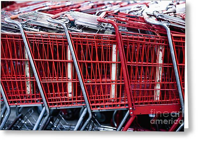 Grocery Store Greeting Cards - Shopping Carts Greeting Card by Sam Bloomberg-rissman