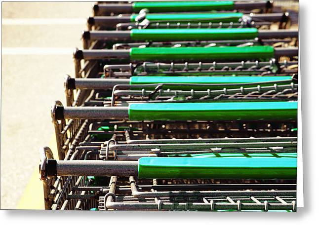 Shopping Cart Greeting Cards - Shopping Carts Stacked Together Greeting Card by Skip Nall