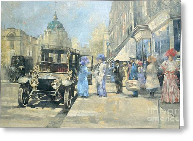 High Street Greeting Cards - Shopping in Style Greeting Card by Peter Miller