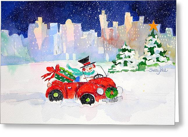 Christmas Art Greeting Cards - Shopping in the City Greeting Card by Suzy Pal Powell