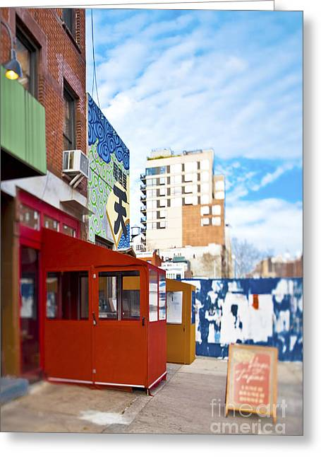 Advertising Office Greeting Cards - Shops on a City Street Greeting Card by Eddy Joaquim