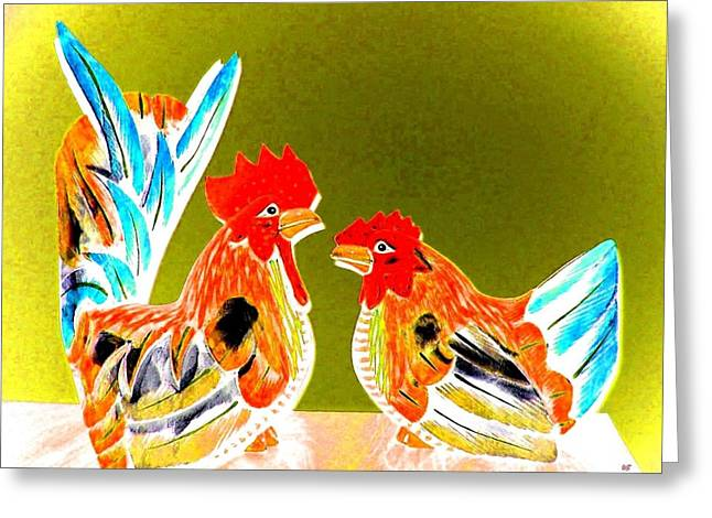 Bright Color Rooster Greeting Cards - Shoptalk Greeting Card by Will Borden