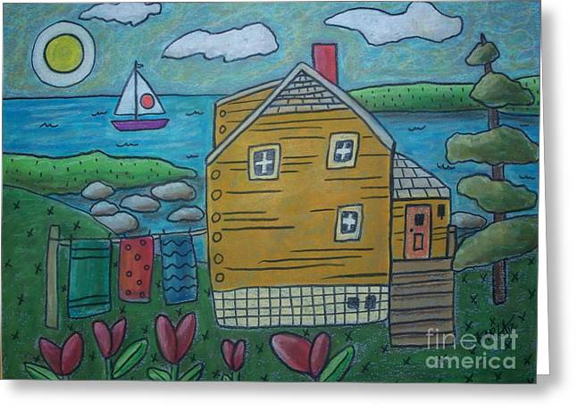 Oil Pastels Pastels Greeting Cards - Shore Cottage Greeting Card by Karla Gerard