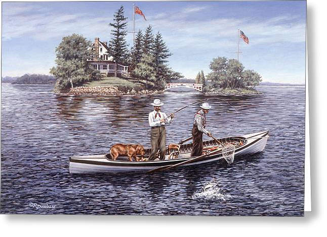 Bass Boat Greeting Cards - Shore Lunch on the Line Greeting Card by Richard De Wolfe