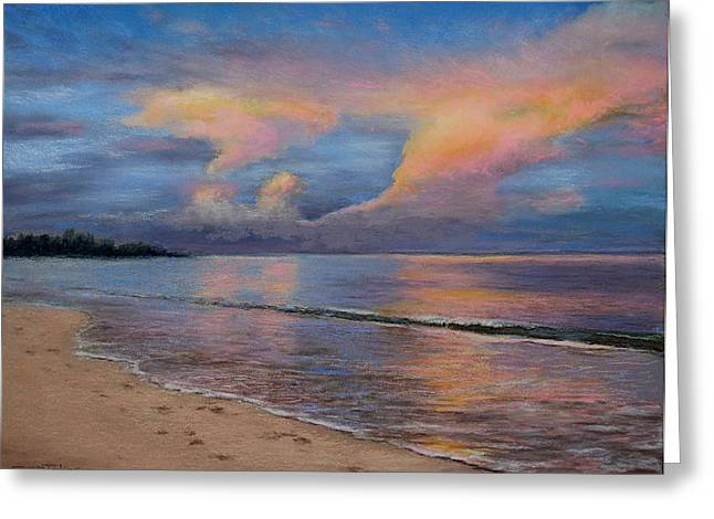 Beach Landscape Pastels Greeting Cards - Shore of Solitude Greeting Card by Susan Jenkins