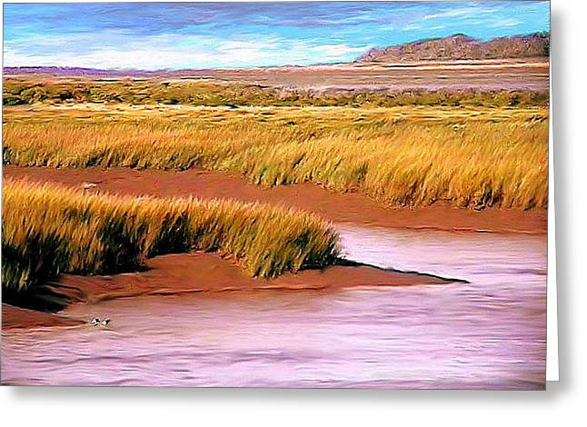 Blended Yellow Ochre Greeting Cards - SHORELINE PAINTING Wolfville Harbour Greeting Card by William OBrien