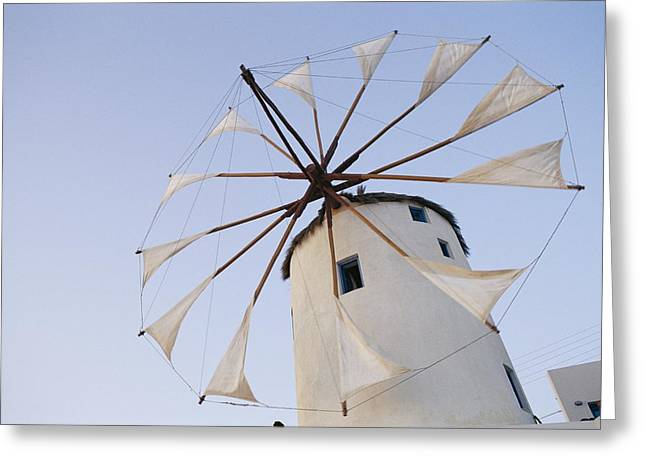 Slavic Greeting Cards - Shot Of A White Windmill Greeting Card by Todd Gipstein