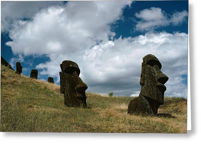 Primitive Sculpture Greeting Cards - Shot Of Several Moai On A Hill Greeting Card by James P. Blair