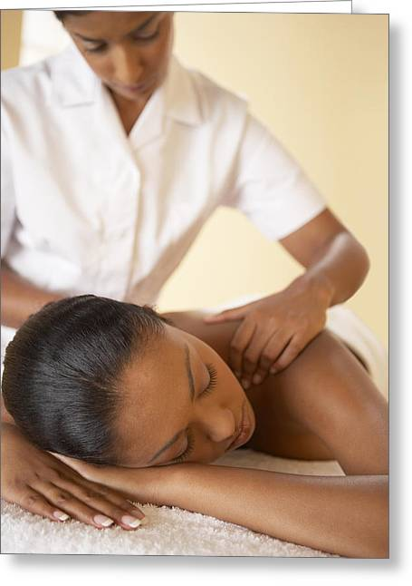 Wellbeing Greeting Cards - Shoulder Massage Greeting Card by Adam Gault