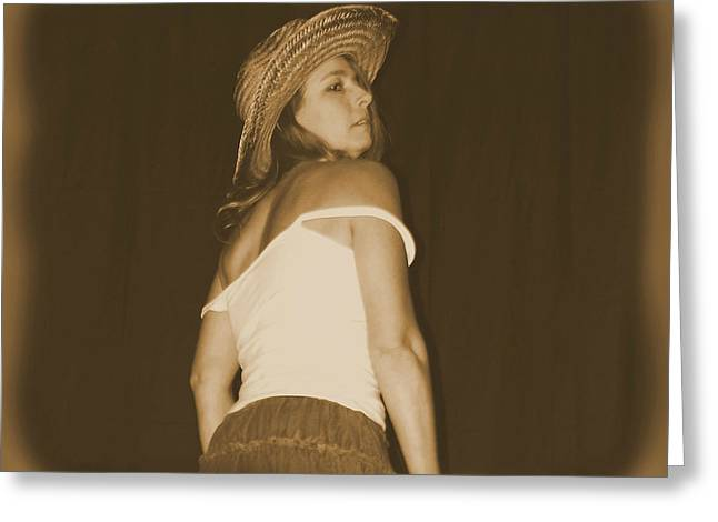 Cowgirl Skirt Greeting Cards - Shoulders Bared Greeting Card by Cindy Nunn