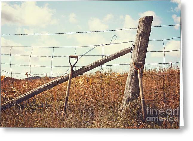 Pasture Scenes Greeting Cards - Shovels leaning against the fence Greeting Card by Sandra Cunningham
