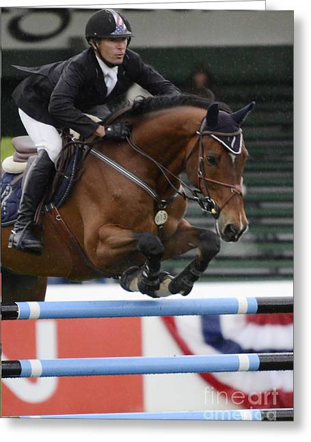 Show Jumping 8 Greeting Card by Bob Christopher