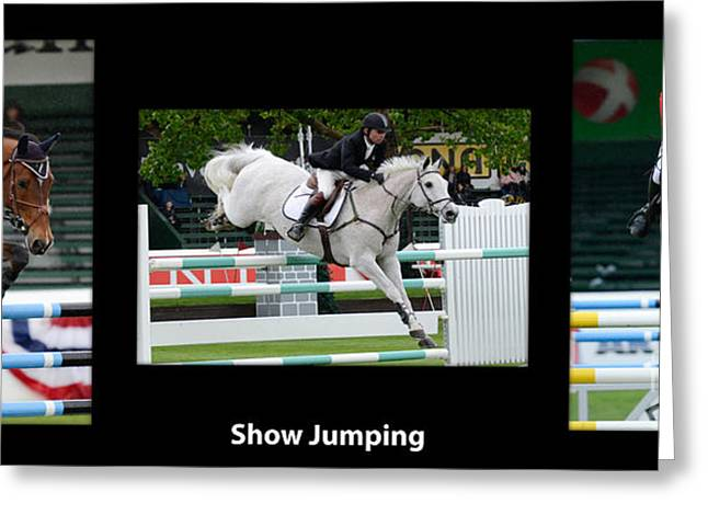 Show Jumping With Caption Greeting Card by Bob Christopher