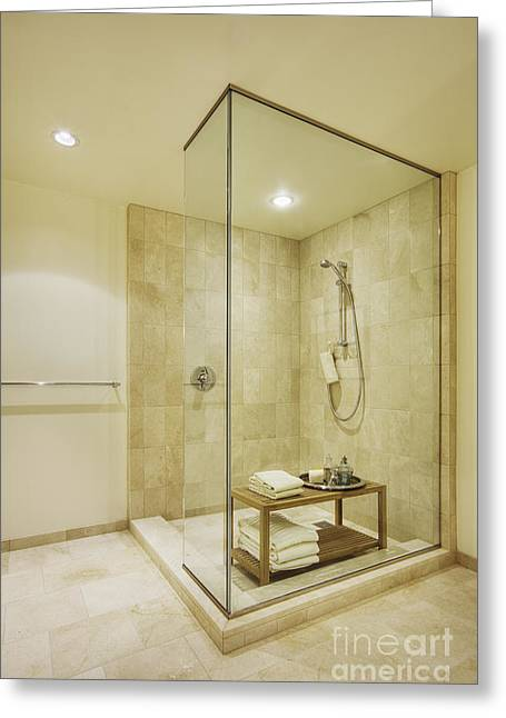 Shelving Greeting Cards - Shower in Upscale Bathroom Greeting Card by Andersen Ross