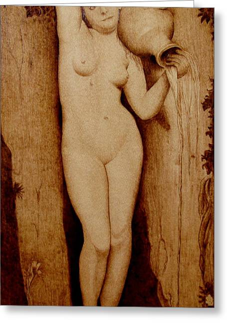Woodburning Greeting Cards - Shower Maiden Greeting Card by Jo Schwartz