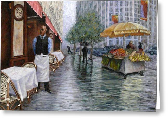 Wet Reflective Pavement Greeting Cards - Shower On Sixth  Avenue Greeting Card by Victor Zucconi