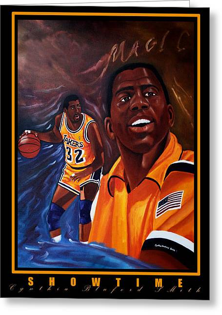 Lakers Paintings Greeting Cards - Showtime Greeting Card by Cynthia Bluford