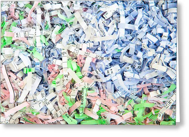 Compost Greeting Cards - Shredded paper Greeting Card by Tom Gowanlock