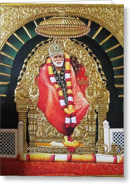 Shree Shirdi Sai Baba Greeting Card by Ashok  Sharma