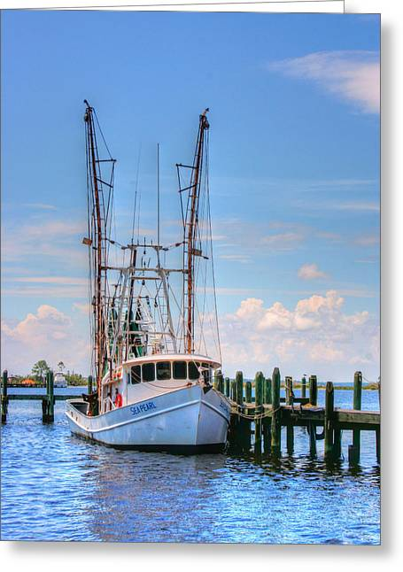 Boats At Dock Greeting Cards - Shrimp Boat at Dock Greeting Card by Barry Jones