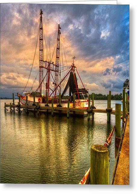 Jacksonville Greeting Cards - Shrimp Boat at Sunset Greeting Card by Debra and Dave Vanderlaan