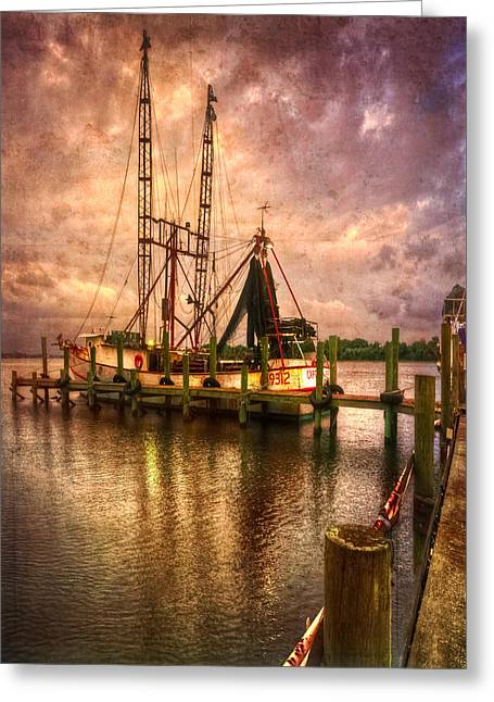 Docked Boat Greeting Cards - Shrimp Boat at Sunset II Greeting Card by Debra and Dave Vanderlaan