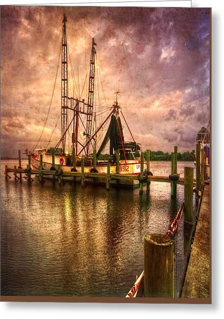 Shrimp Boat At Sunset II Greeting Card by Debra and Dave Vanderlaan