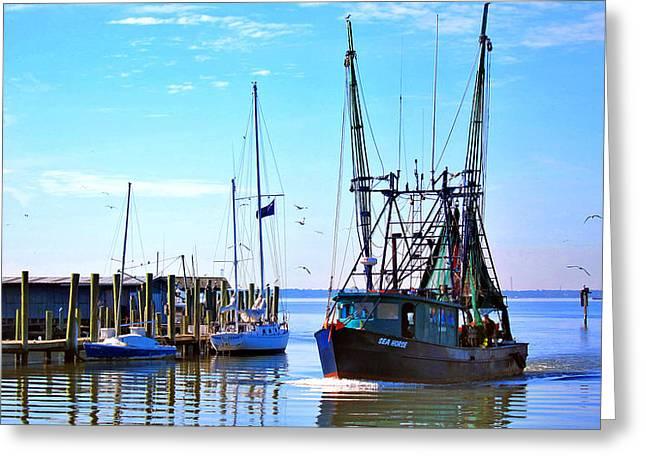 Mt. Pleasant Sc Greeting Cards - Shrimp Boat on Shem Creek Greeting Card by Pat Exum