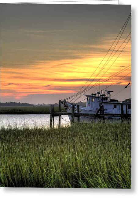 Shrimp Greeting Cards - Shrimp Boat Sunset Greeting Card by Dustin K Ryan