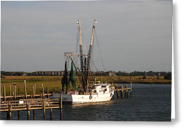 Marsh Scene Greeting Cards - Shrimp Boat Greeting Card by Susanne Van Hulst