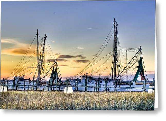 Atlantic Beaches Greeting Cards - Shrimp Boats Greeting Card by Drew Castelhano