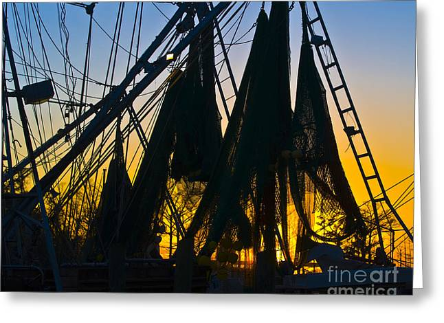 Shrimpers Greeting Cards - Shrimp Net Sunset Greeting Card by Al Powell Photography USA